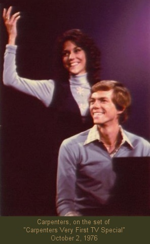 "Richard and Karen Carpenter, Carpenters, on the set of ""Carpenters Very First TV Special"" October 2, 1976"