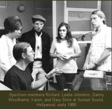 Carpenter's group Spectrum members, Richard, Leslie Johnston, Danny Woodhams, Karen, and Gary Sims at Sunset Sound, Hollywood, early 1968