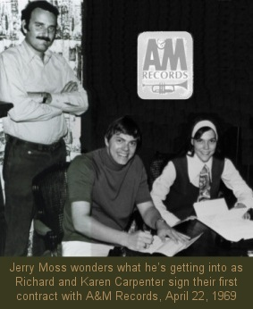 Carpenters and Jerry Moss, signing first A&M contract, April 22, 1969