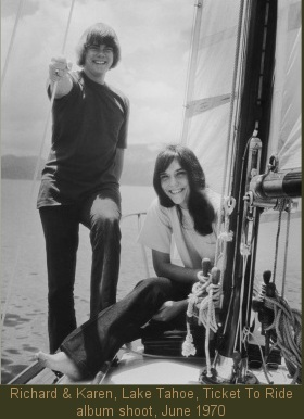 Carpenters, Lake Tahoe, Ticket To Ride album shoot, June 1970