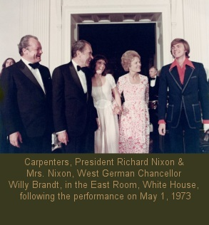 Richard Carpenter, Karen Carpenter, with President Richard Nixon, First Lady Pat Nixon, West German Chancellor Willy Brandt, in the East Room, White House, following their performance on May 1, 1973