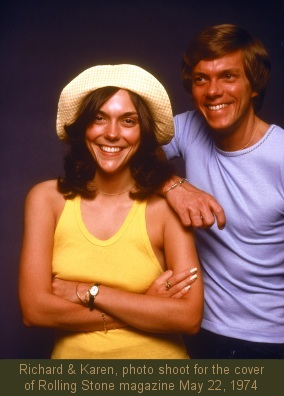 Carpenters photo shoot for the cover of Rolling Stone magazine, May 22, 1974